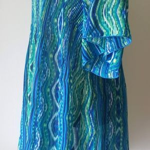 Catherines Tops - Catherines 2X 3X 22/24 Top Assym Bling Blue Green